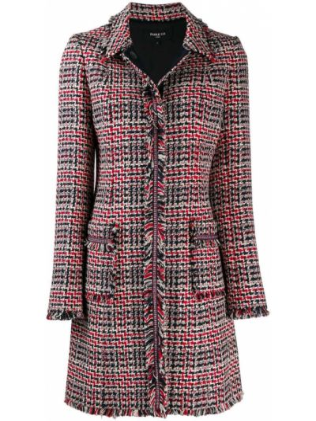Красное пальто классическое с воротником с бахромой Paule Ka