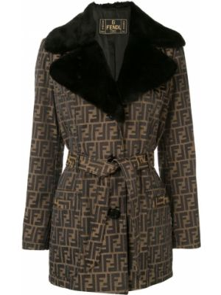 Коричневая куртка из искусственного меха с поясом Fendi Pre-owned