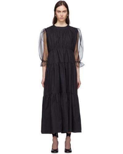 Czarna sukienka długa z długimi rękawami bawełniana Le Petit Trou