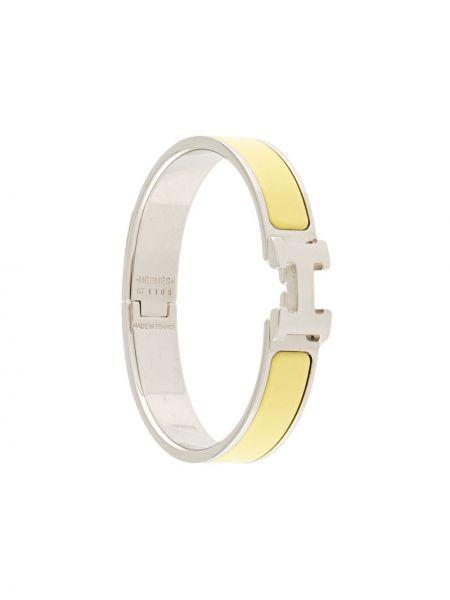Żółta bransoletka srebrna Hermes