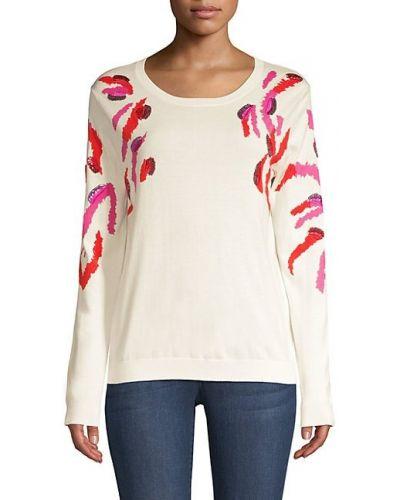 Хлопковый белый длинный свитер с пайетками Escada