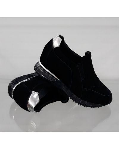 Высокие кроссовки на танкетке - черные Lonza