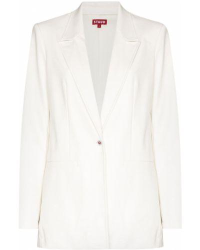 Белый кожаный пиджак Staud