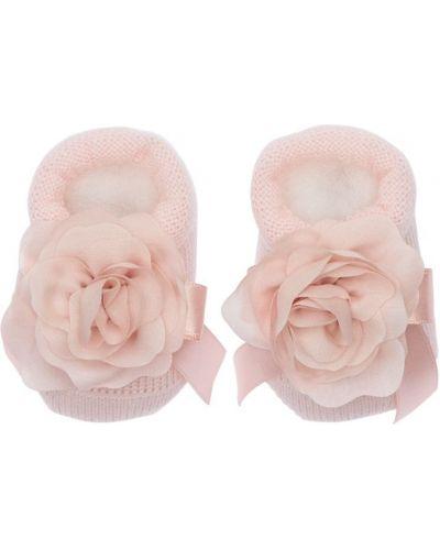 Wełniany różowy skarpetki z aplikacjami na gumce La Perla
