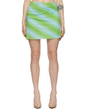 Zielony asymetryczny spódnica mini rozciągać z falbankami Maisie Wilen
