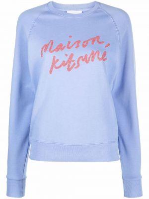 Хлопковый свитшот - синий Maison Kitsuné