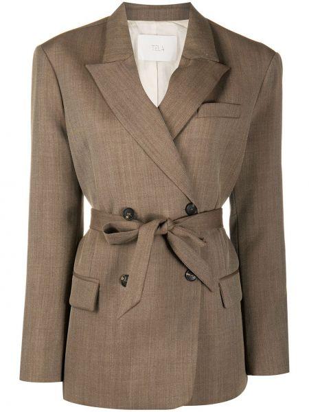 Коричневый удлиненный пиджак двубортный с поясом Tela