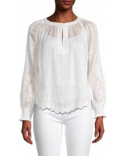 Biała bluzka z długimi rękawami z jedwabiu Velvet