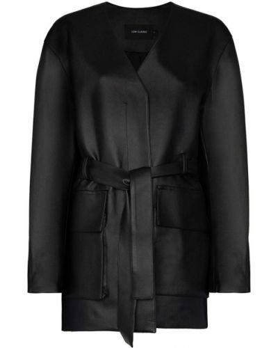 Черное пальто классическое с поясом с вырезом Low Classic