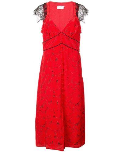 Платье с вырезом красный Tanya Taylor