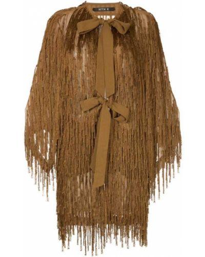 Длинное пальто с капюшоном с бахромой Kitx