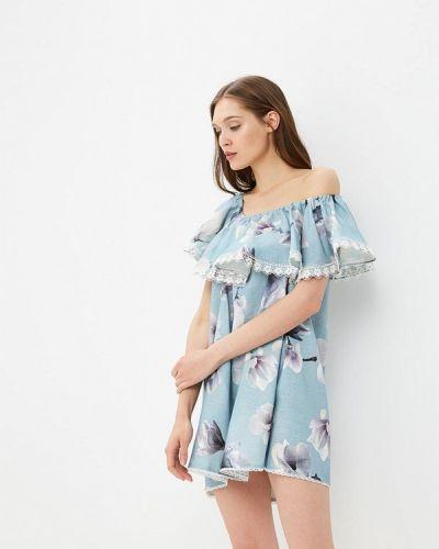 Платье с открытыми плечами - голубое Moru