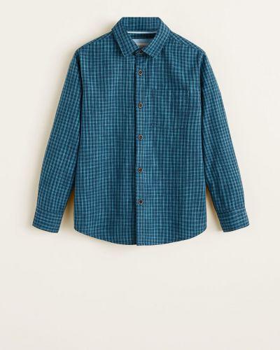 Рубашка хлопковая однотонная Mango Kids
