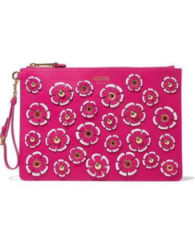 Różowa złota kopertówka Moschino