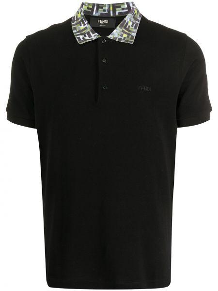 Koszula krótkie z krótkim rękawem z kołnierzem z haftem Fendi
