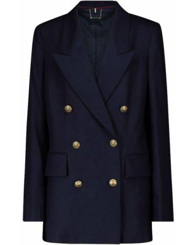 Шерстяной синий пиджак стрейч Frame