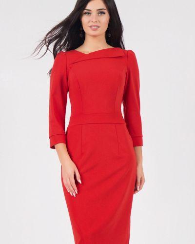 Деловое платье красный осеннее Grey Cat