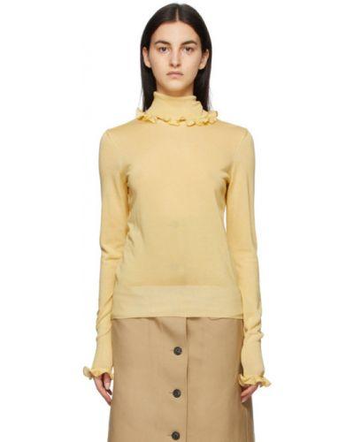 Желтое поло с длинными рукавами с воротником Victoria Beckham