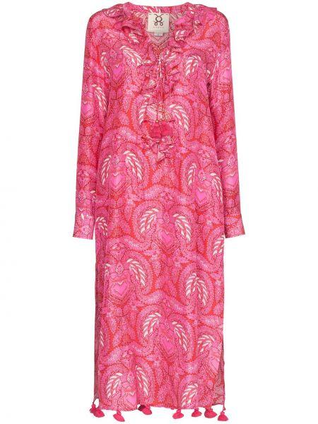 Różowa sukienka midi z długimi rękawami z jedwabiu Figue
