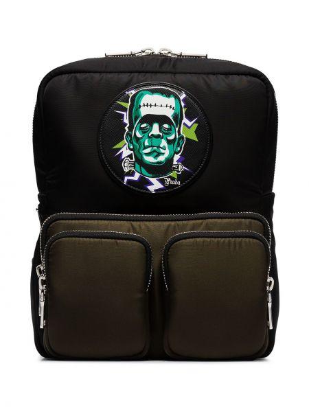 Czarny plecak szkolny z siateczką Prada