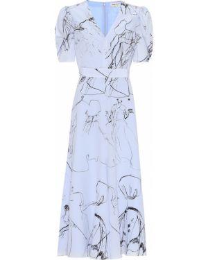 Платье миди шелковое синее Alexander Mcqueen