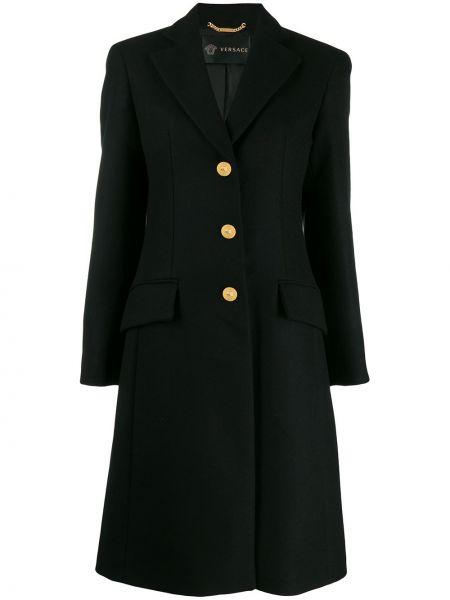 Шерстяное черное длинное пальто с капюшоном Versace