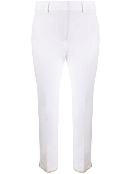 Хлопковые белые укороченные брюки с карманами Incotex