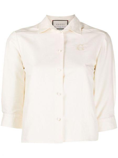 Bawełna beżowy bluzka z krótkim rękawem z kołnierzem z haftem Gucci