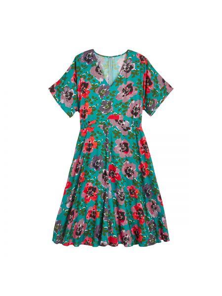 Вечернее платье миди с цветочным принтом La Redoute