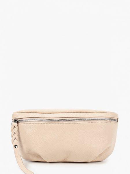 Кожаная сумка поясная бежевый Afina