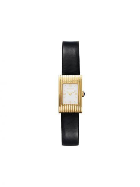 Czarny złoty zegarek na skórzanym pasku kwarc Boucheron