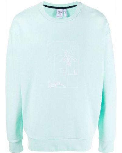 Biała bluza długa z długimi rękawami bawełniana Adidas