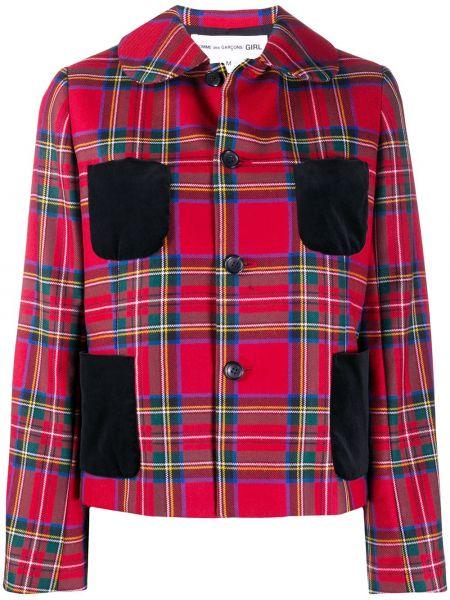 Красный классический пиджак в клетку с карманами Comme Des Garçons Girl