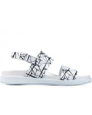 Кожаные белые сандалии с пряжкой Franceschetti