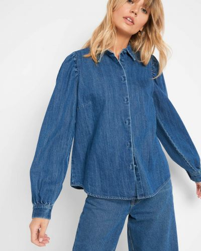 Niebieski bawełna z rękawami koszula jeansowa Orsay