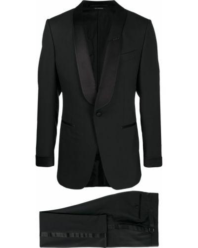 Z rękawami wełniany czarny garnitur Tom Ford