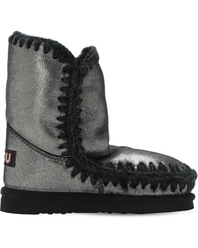 Skórzany czarny buty prążkowany Mou