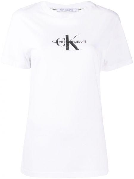 Bawełna bawełna biały koszula jeansowa krótkie rękawy Calvin Klein Jeans