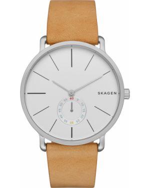 Brązowy zegarek srebrny Skagen
