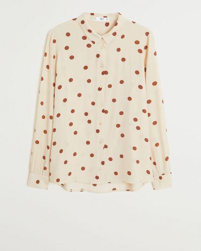 Блузка с длинным рукавом из вискозы белая Mango