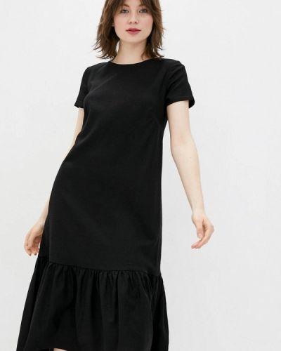 Прямое черное платье А-силуэта Ricamare