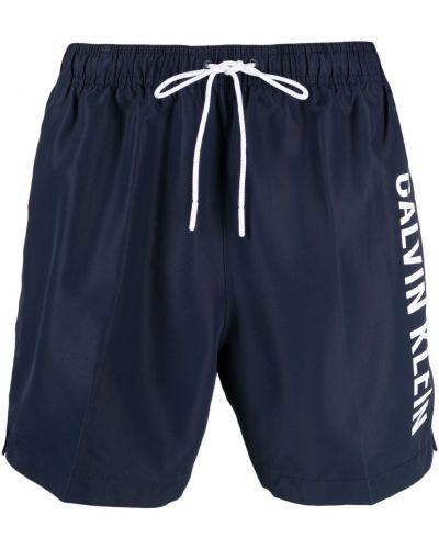 С кулиской синие джинсовые шорты с карманами Calvin Klein Jeans