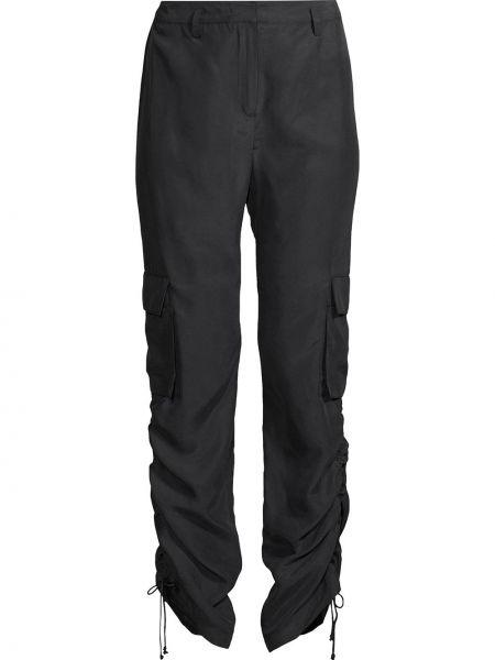Czarne spodnie z paskiem z jedwabiu Nicole Miller
