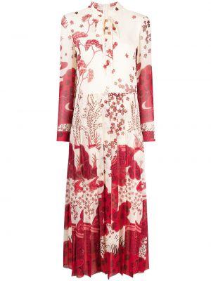 С рукавами красное платье макси с вырезом Red Valentino