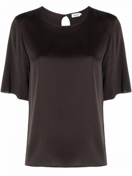 T-shirt z jedwabiu - brązowa Filippa K