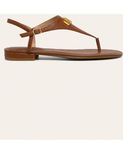 Brązowe sandały skorzane Lauren Ralph Lauren