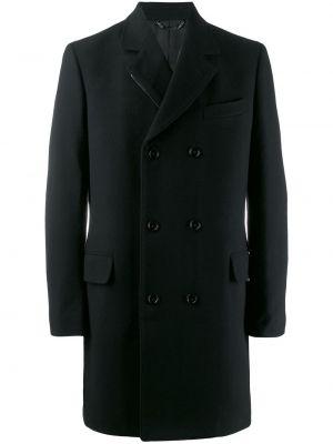 Черное шерстяное прямое длинное пальто на пуговицах Dolce & Gabbana