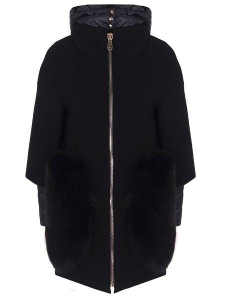 Шерстяное пальто с капюшоном с воротником с накладными карманами айвори Montecore