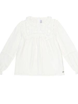 Biały bluzka z wiskozy z haftem Tartine Et Chocolat