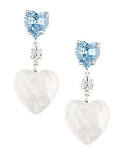 Niebieskie kolczyki sztyfty perły srebrne Dannijo